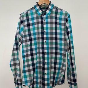 Green Checkered Fitted Dress Shirt